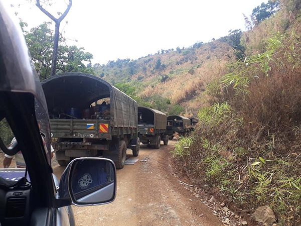 Burma Army trucks operating in and around Paletwah and Sami camps.