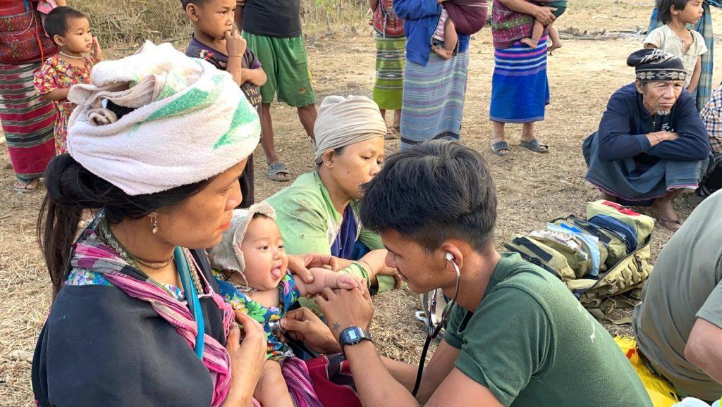 Medics treat patients
