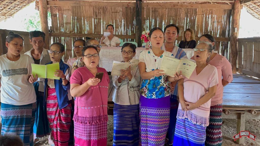 Displaced Karen people singing 1